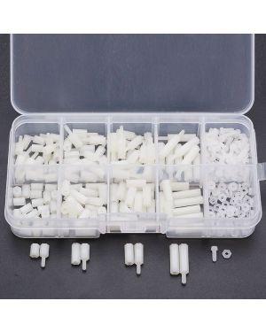 300pcs Assorted M2 Nylon Screw White Hex Screw Nut Kit